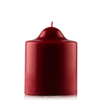 Red Unscented Pillar Dome Candle